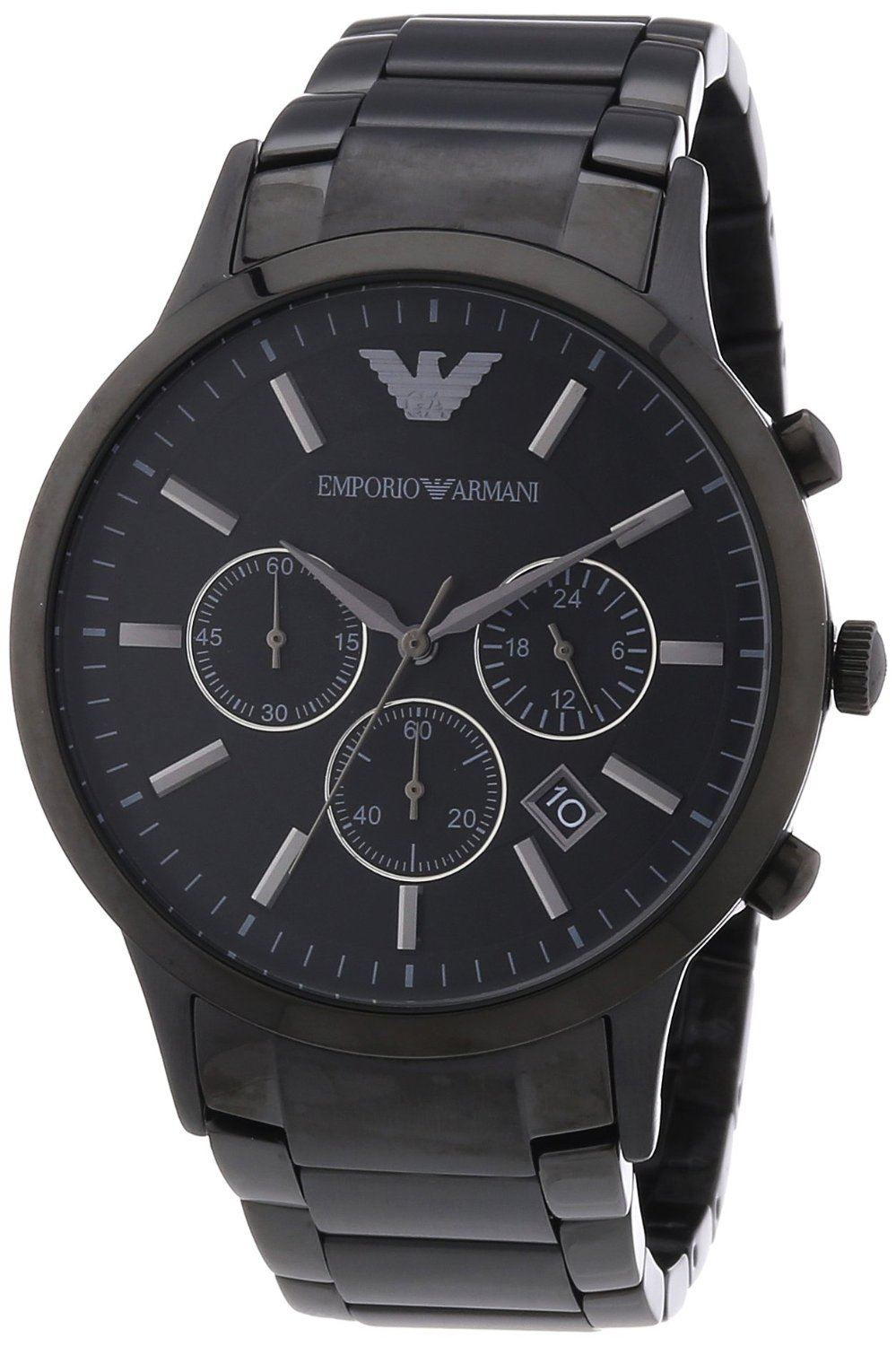 armani classic chronograph stainless steel black men 39 s watch ar2453 armani watches. Black Bedroom Furniture Sets. Home Design Ideas